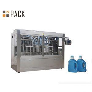 Rūpniecisko pudeļu uzpildes līnija / veļas pulvera uzpildes līnija ar servo motoru un skārienekrānu