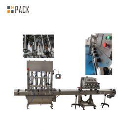 Nospiediet Push On automātisko pudeļu aizvēršanas mašīnu. 8 galvas pārtikas eļļas / talka pulvera pagatavošanai